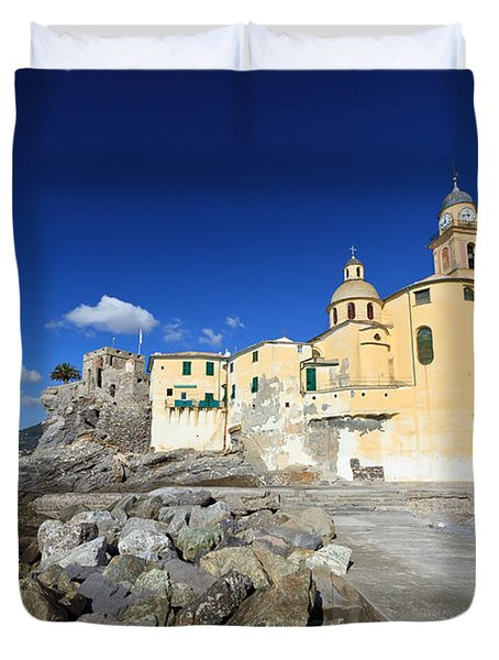Duvet Cover featuring the photograph church in Camogli by Antonio Scarpi