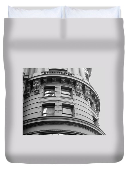 Duvet Cover featuring the photograph Circular Building Details San Francisco Bw by Connie Fox