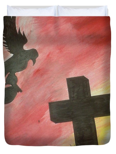 Duvet Cover featuring the painting City Undead by Justin Moore