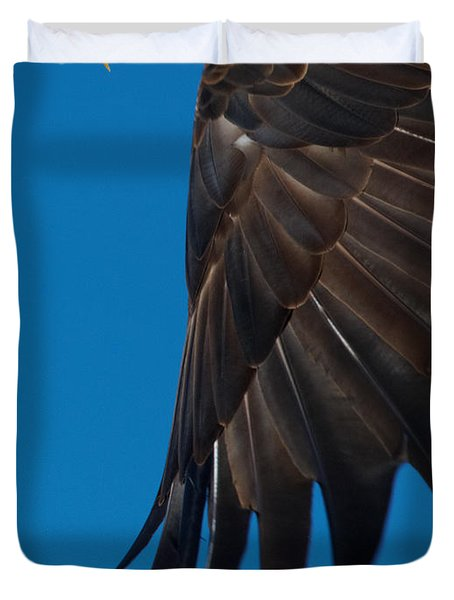 Close-up Of An American Bald Eagle In Flight Duvet Cover