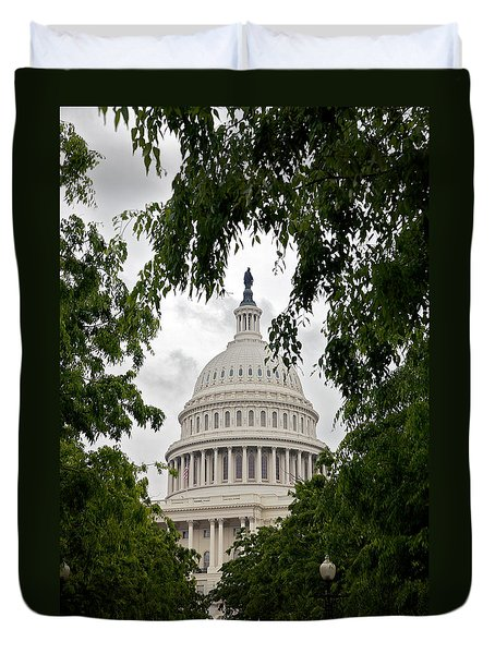 Clouds Over The Capitol Duvet Cover
