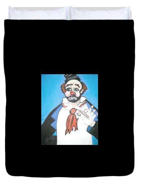 Duvet Cover featuring the painting Clown by Nora Shepley