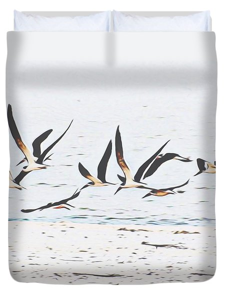 Coastal Skimmers Duvet Cover by Scott Cameron