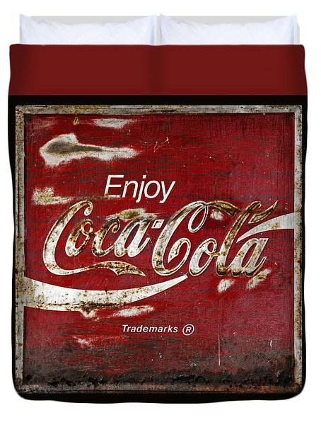 Coca Cola Grunge Sign Duvet Cover by John Stephens
