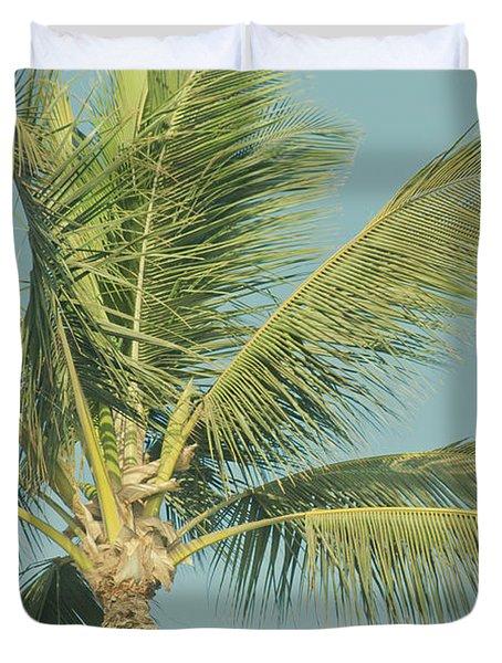 Cocos Nucifera - Niu - Palma - Po'olenalena Beach Maui Hawaii Duvet Cover by Sharon Mau