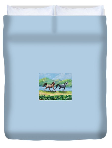 Colt And Mare Duvet Cover