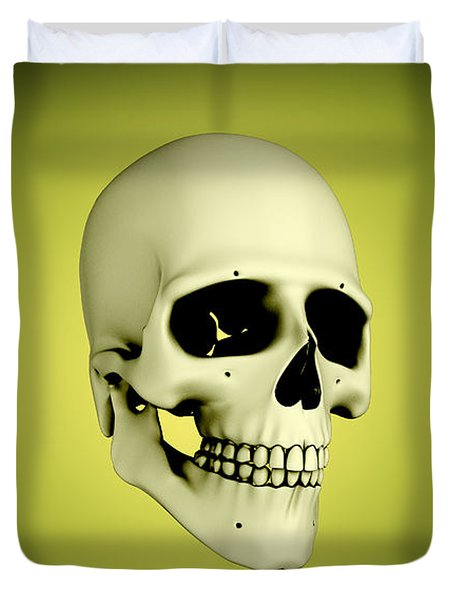 Conceptual View Of Human Skull Duvet Cover by Stocktrek Images