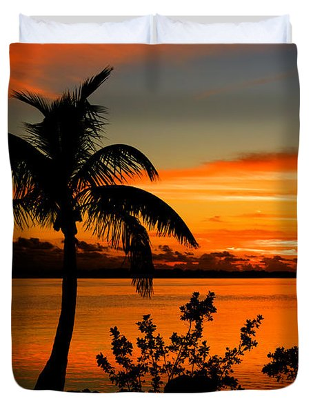 Conch Key Bay Sunset Duvet Cover by Julis Simo