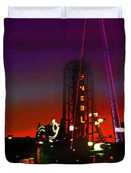 Coney Island Amusement Park And Parachute Jump Duvet Cover
