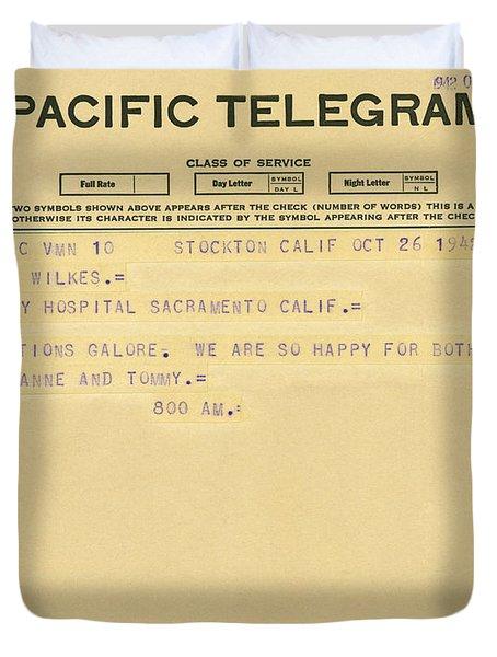 Congratulatory Telegram Duvet Cover by Underwood Archives