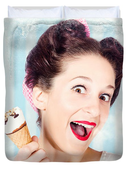 Cool Pin-up Woman In Cold Freezer With Ice-cream Duvet Cover