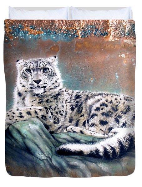 Copper Snow Leopard Duvet Cover