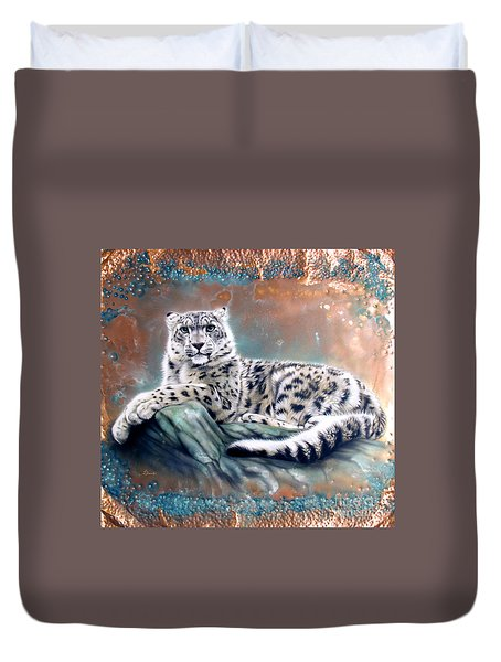 Copper Snow Leopard Duvet Cover