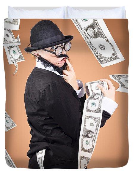 Corrupt Business Man Money Laundering Us Dollars Duvet Cover