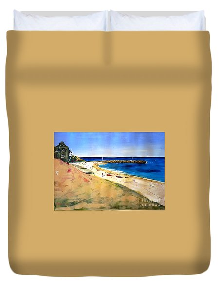 Duvet Cover featuring the painting Cottesloe Beach by Therese Alcorn