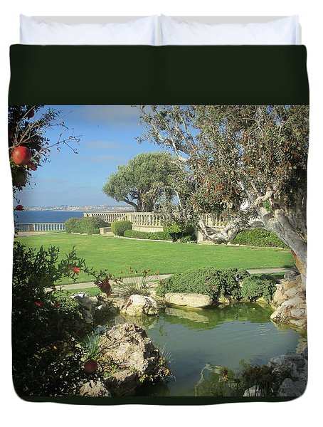 Courtyard On The Cliffs Duvet Cover by Vivien Rhyan