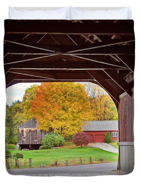 Covered Bridge In Autumn Duvet Cover