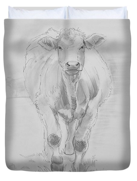 Cow Drawing Duvet Cover