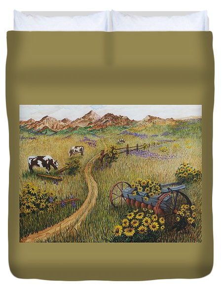 Cows Grazing Duvet Cover by Katherine Young-Beck