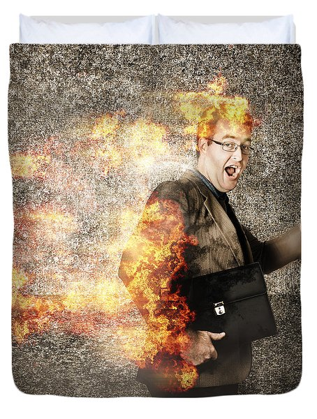 Crazy Businessman Running Engulfed In Fire. Late Duvet Cover