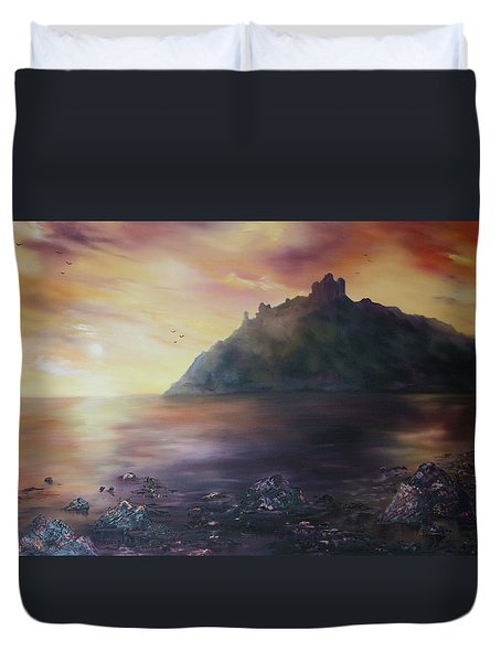 Duvet Cover featuring the painting Criccieth Castle North Wales by Jean Walker