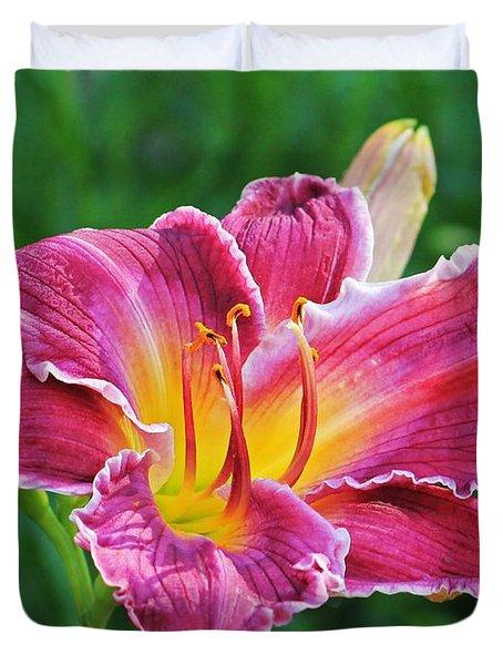 Crimson Day Lily Duvet Cover
