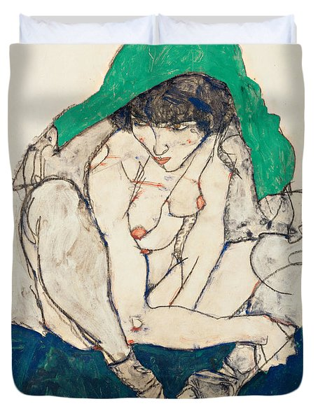 Crouching Woman With Green Headscarf Duvet Cover