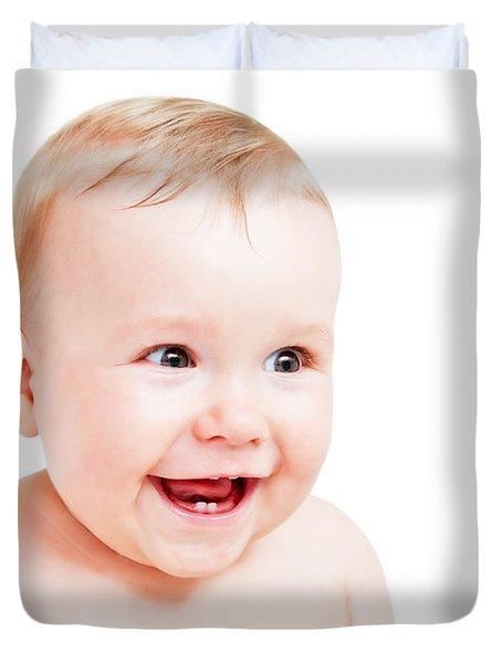 Cute Happy Baby Laughing On White Duvet Cover by Michal Bednarek