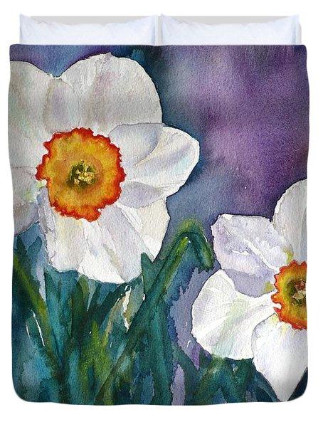 Duvet Cover featuring the painting Daffodil Dream by Anna Ruzsan