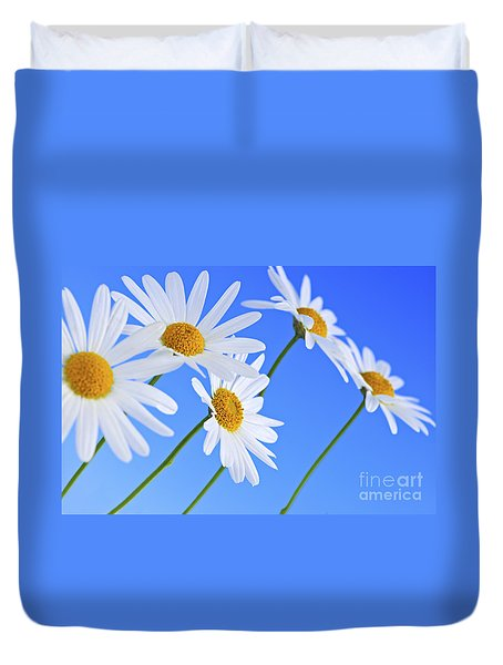 Daisy Flowers On Blue Background Duvet Cover by Elena Elisseeva