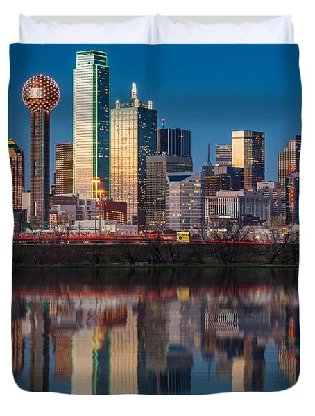 Dallas Skyline Duvet Cover by Mihai Andritoiu