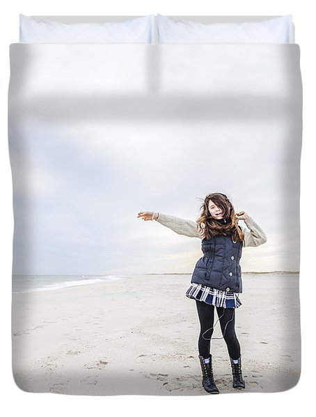 Dance At The Beach Duvet Cover