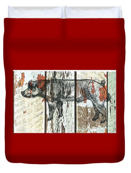 Danish Duroc Boar Duvet Cover by Larry Campbell