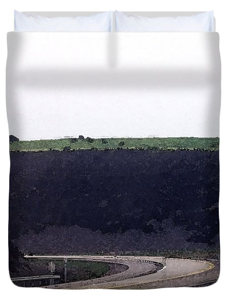 Duvet Cover featuring the photograph Dark Rock Cut Out By The Road Wc  by Lyle Crump