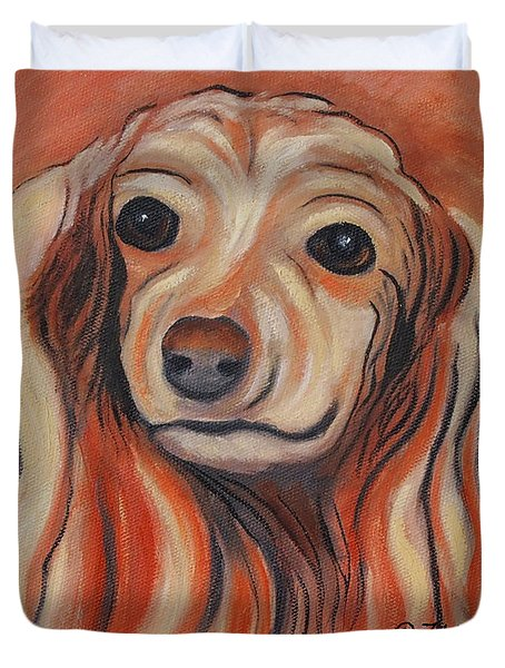 Duvet Cover featuring the painting Daschound by Karen Zuk Rosenblatt