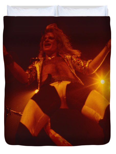 David Lee Roth - Van Halen At The Oakland Coliseum 12-2-1978 Rare Unreleased Duvet Cover by Daniel Larsen