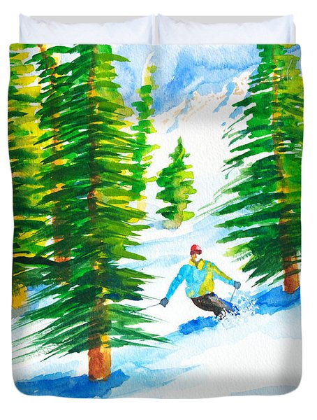 David Skiing The Trees  Duvet Cover