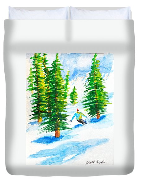 David Skiing The Trees  Duvet Cover
