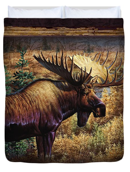 Duvet Cover featuring the painting Deco Moose by Cynthie Fisher