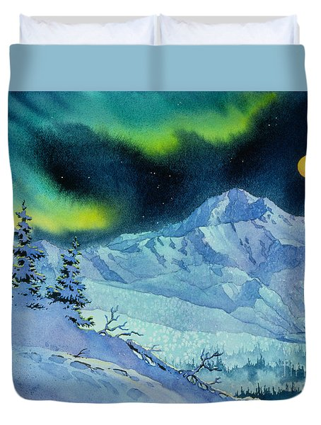 Duvet Cover featuring the painting Denali Night by Teresa Ascone