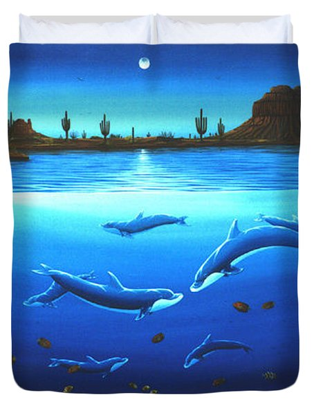 Duvet Cover featuring the painting Desert Dolphins by Lance Headlee