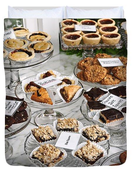Desserts In Bakery Window Duvet Cover by Elena Elisseeva