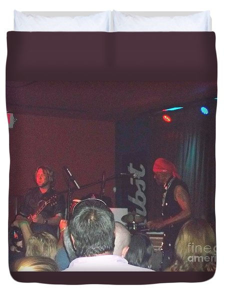 Duvet Cover featuring the photograph Devon Allman And Cyril Neville by Kelly Awad