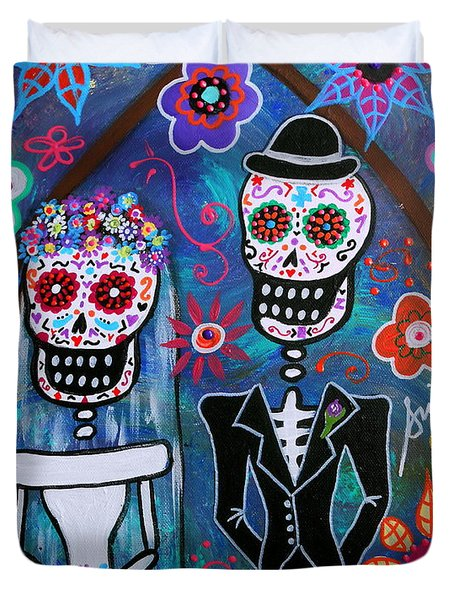 Dia De Los Muertos Wedding Duvet Cover
