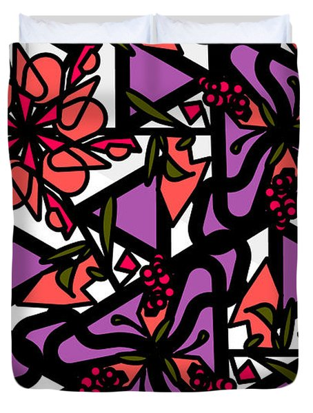 Duvet Cover featuring the digital art Digi-flora by Elizabeth McTaggart