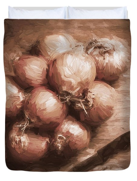 Digital Painting Of Brown Onions On Kitchen Table Duvet Cover
