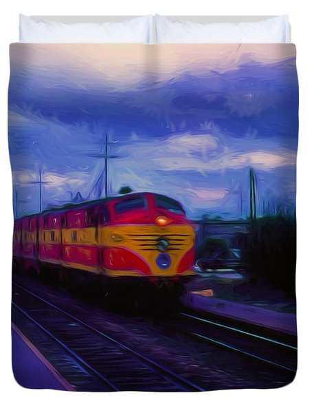Digital Painting Train  Duvet Cover by Cathy Anderson
