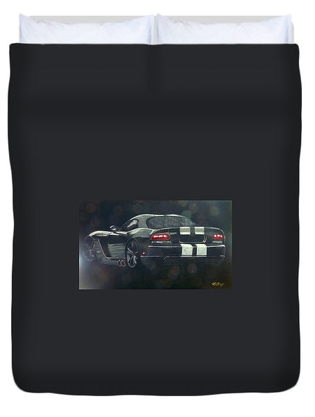 Duvet Cover featuring the painting Dodge Viper 2 by Richard Le Page