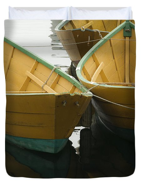 Dories At The Dock Duvet Cover by David Stone