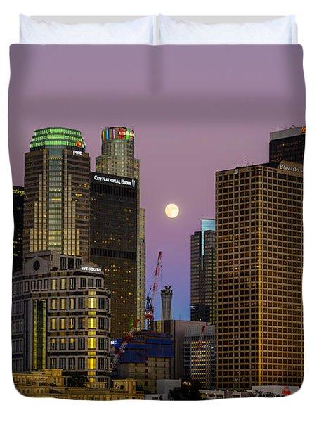 Downtown Los Angeles Moonrise Duvet Cover